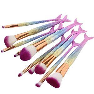 10 Pièces Kit de pinceaux de maquillage pinceaux de maquillage de sirène