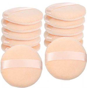 12 Pièces Houppettes à Poudre de Coton Rondes Grande Taille avec Sangle Houppettes Maquillage de Poudre Libre (3,4 Pouces, Couleur champagne)
