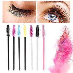 50 Pcs Jetables Cils Mascara Sourcils Goupillon Cils Eye Lash Sourcils Applicateur Maquillage Cosmétique Brush Kits D'outils, 7 Types(Noir Jaune)