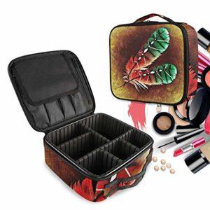Aile De Plume Trousse Sac Cosmétique Organisateur de Maquillage Pochette Sacs Cas avec Cloisons Amovibles pour Voyage Les Femmes Filles