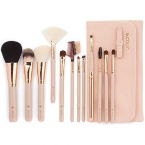 amoore Pinceau de maquillage Brush Cosmétique Beauté Kit maquillage De Pinceau Maquillage Professionnel(12 pcs, nude)