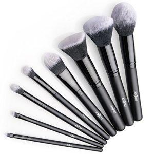Anjou Pinceaux Maquillages Professionnels de 8pcs, Pinceaux pour le visage Poils Synthétiques Vegan pour fond de teint, blush, correcteurs pour les yeux – Noir
