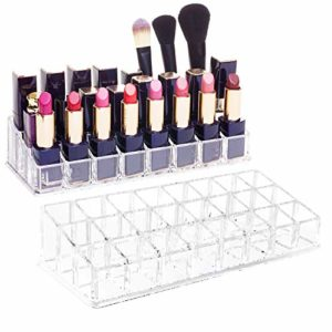 Boîte de Rangement Rouge à Lèvres,24 étagère Grille Carrés Rouge à Lèvres Showcase Support Cosmétique Organiseur Mallette de Maquillage(2 pcs)