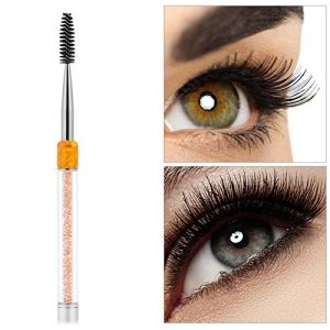 Brosse à cils – 4 couleurs Peigne à sourcils Brosse à sourcils Mascara Wands Applicateur Spooler Extension de cils Outil(jaune)