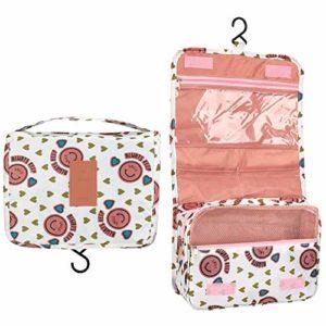 BryTravel Portable Trousse de Toilette Suspendre Sac de Toilette étanche pour Femme, Accroché de Voyage Pliable Cosmétique Sac Organisateur (Pink Smile)