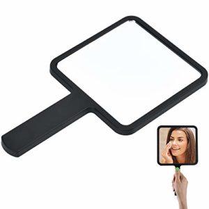 cococity Mirroir à Main Portable Miroir de Maquillage Carré pour Salon de Coiffure, Maison Noir – 9 x 16cm