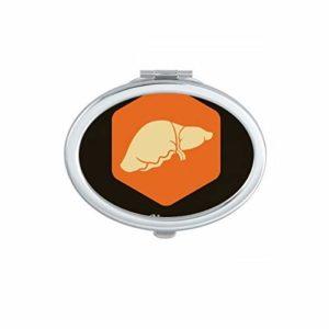 DIYthinker Corps Organes internes Pancréas Ovale Miroir de Maquillage Compact Portable Mignon Miroirs de Poche à la Main Cadeau Multicolor