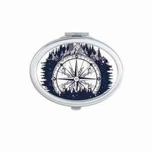 DIYthinker Décoration Humaine Motif du Corps squelettique Ovale Compact Miroir de Maquillage Portable Mignon Miroirs de Poche à la Main Cadeau Multicolor
