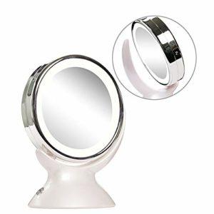 Dunflop 360 Degrés De Rotation Miroir Grossissant Maquillage avec Lumière, LED Lighted Cosmétiques Main Portable Grossissement Light Up Miroirs for La Maison Salle De Bains Tabletop
