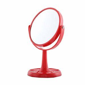 Dunflop Grand Creative Portable Maquillage Vanity Table Miroir À Deux Faces De 360 degrés Pivotant Miroir Cosmétique for Salle De Bain Douche Voyage Chambre (Color : Red)