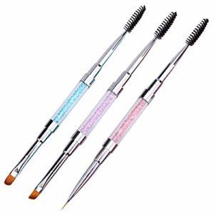 Ebanku 3pcs double pinceau cils sourcils pinceaux applicateur & pinceaux pinceaux acrylique ongles gel UV, pinceaux cosmétiques portables avec cap