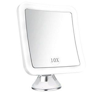 ELFINA Miroir grossissant Lumineux de Maquillage X10 avec lumières LED, Miroir Mural Rotation à 360° avec Verrouillage Ventouse pour Rasage et Maquillage dans Salle de Bain et Voyage