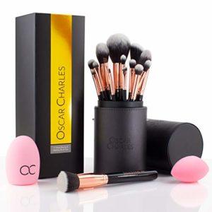 Ensemble de pinceaux Professionnels maquillage Oscar Charles dans une trousse à pinceaux élégante : set de pinceau maquillage (Or Rose) (Or Rose)