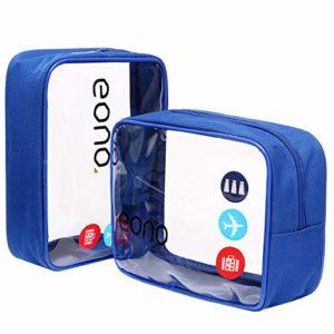 Eono by Amazon – Trousse de Toilette Transparente, Kit de Voyage, Trousse de Voyage étanche Sac Cosmétiques pour Hommes et Femmes, Trousse Toilette Avion, TSA Sac de Transport, Bleu, 2 Pcs