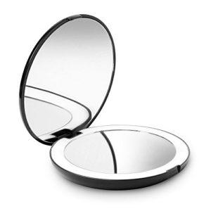 Fancii LED Miroir de Poche Lumineux, Grossissant 1x / 10x – Grand Miroir à Main de Maquillage avec Éclairage Naturel, 12,7 cm de Diamètre, Compact et Portable pour Voyage (Noir)