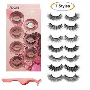 Faux cils 7 styles – Cils pour le visage réutilisables professionnels pour tous les yeux, Cils en faux vison 3D faits à la main, épais et naturels avec pince à cils de précision gratuite (7 paires)