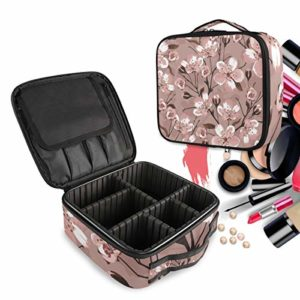 Fleur d'Art Trousse Sac Cosmétique Organisateur de Maquillage Pochette Sacs Cas avec Cloisons Amovibles pour Voyage Les Femmes Filles