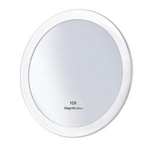 Frcolor Miroir grossissant 10X avec 3 ventouses, Miroir cosmétique Miroir de poche pliant 5.9″ Miroir de maquillage pour les femmes filles (Blanc)