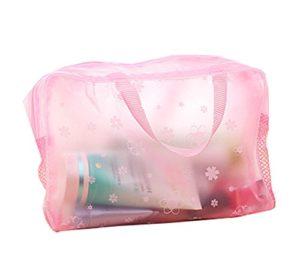 Hosaire Trousse de Toilette Motif de Fleur Transparent Sac à Maquillage Imperméable Organisateur des Cosmétiques de Voyage Zipper Sac Pochette Grande Capacité Rose