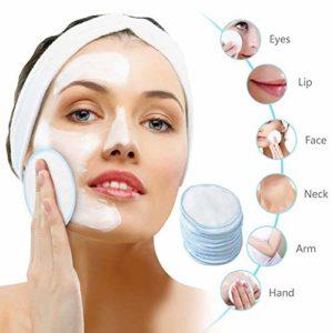 iBoosila Roue en bambou molle de coton de solvant de maquillage réutilisable avec le sac de blanchisserie pour nettoyer le visage 10pcs expedient thrifty