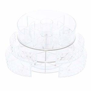 IPOTCH Organisateur de Maquillage Pivotant Sur 360°Présentoir de Maquillage Etagère Réglable Rangement Présentoir Bijoux – Texture de diamant
