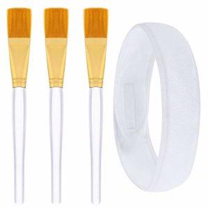 Kbnian Kit de 3 Pinceaux Applicateur Masque en Fibre Souple + Bandeau Tête Turban Cheveux en Tissu Éponge Blanc pour Appliquer Masque Soin Visage Gommage Maquillage Démaquillage Douche Femme Fille