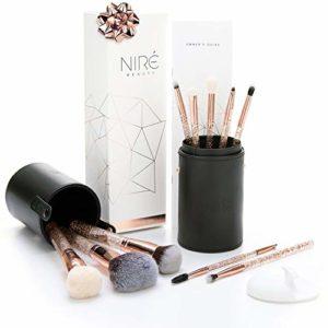 Kit de Pinceaux Niré Beauty Essentiel Scintillant avec un Rangement Pinceaux Maquillage et une Brosse Nettoyante Visage