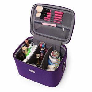 Lwieui Sac cosmétique 14 Pouces Maquillage Sac de Voyage PU étui cosmétique étanche pour Les Filles Adolescente Sacs de Toilette (Couleur : Violet)