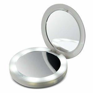 Miroir de chargement à DEL compact HoMedics , parfait compagnon de sac à main pour les smartphones, lumière DEL maquillage tous éclairages, port USB pour appareils portables