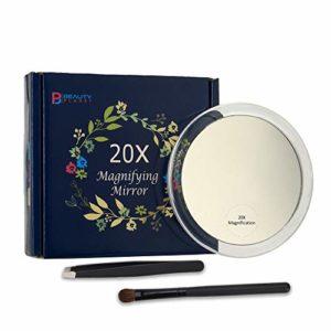 Miroir Grossissant 20X Avec 3X Ventouses,Pour Maquillage, Epilation & Elimination Des Points Noirs Et Taches.