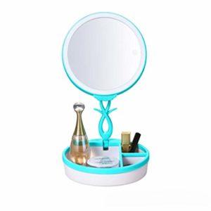 Miroirs à main LED corps humain induction HD maquillage miroir tactile lampe de bureau miroir charge légère rabattable (Color : Blue)