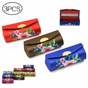 Mode portatif Étui à rouge à lèvres rétro de fleur de motif de broderie de brocart,3Pcs Couleur aléatoire
