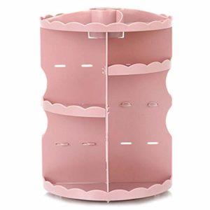 Monland Organiseur De Maquillage Rotatif à 360 Degrés, Unité De Rangement pour Cosmétiques Ajustable et Multifonctions, Adapté à Différents Types De Cosmétiques et Accessoires Rose