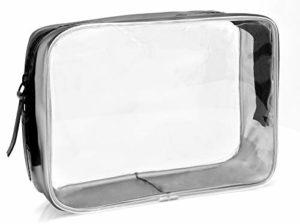 MyGadget Pochette de Voyage en Plastique Transparent pour Avion Bagage Cabine – Trousse Maquillage & Cosmétiques PVC Imperméable – Taille M
