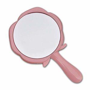 Noir Rose Rose Style De Poignée Portable Miroir Cosmétique Ronde De Toilette En Forme De Maquillage En Verre Miroir (Color : Pink)