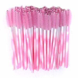 Ogquaton Durable 50 Pcs jetables cil brosse femmes Mini Mascara Baguettes Applicateur Maquillage Outil de Beauté, Rose