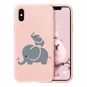 Oihxse Ultra Mince Silicone Case Compatible pour iPhone 11 Pro Max Coque Souple Mignon Gommage Protection Housse Creatif Motif Bumper Etui Doux Antichoc Cover(Rose-Éléphant 1)