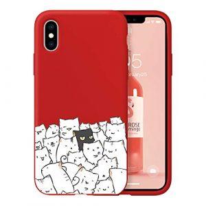 Oihxse Ultra Mince Silicone Case Compatible pour iPhone 11 Pro Max Coque Souple Mignon Gommage Protection Housse Creatif Motif Bumper Etui Doux Antichoc Cover(Rouge-Chat Noir)