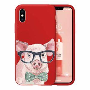 Oihxse Ultra Mince Silicone Case Compatible pour iPhone 11 Pro Max Coque Souple Mignon Gommage Protection Housse Creatif Motif Bumper Etui Doux Antichoc Cover(Rouge-Cochon)