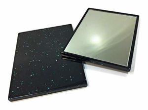 Petit miroir de poche carré – Miroir de poche – Miroir de poche – Corps en plastique – Couleur du cadre : bleu foncé avec paillettes