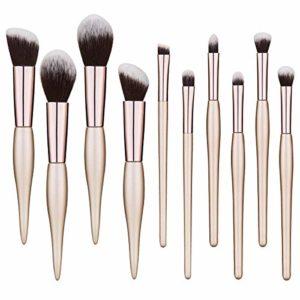 Pinceaux Maquillage Cosmétique Brush 10pcs Set Beauté Cosmétique Brush Lot de pinceaux de maquillage synthétiques de qualité supérieure pour fond de teint, kabuki, blush, correcteur, fard à paupières