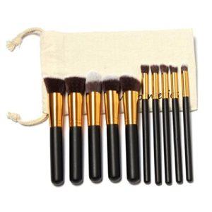 Pinceaux Maquillage Professionnel 10 pièces Cosmetics Pinceaux Kit pour Liquide Poudre Crème Fusion de Fond de Teint Concealer Eye Visage Synthétique Pinceaux de Maquillage avec Sac