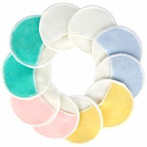 Pinowu Biologique Bambou Maquillage Dissolvant Pads avec poche doigt (10pcs) – 3 couche Réutilisable Naturel Coton Les manches pour les yeux Maquillage Retirer Visage Essuyer (5 couleurs)