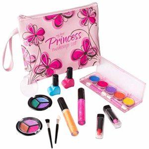 Playkidz – My First Princesse Lavable Véritable Ensemble de Maquillâge, avec Design Floral Cosmétique Sac, PK3032, Motif Rose – Version Anglaise