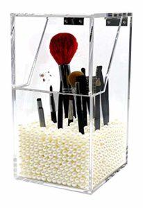 PuTwo Boîte de Rangement Organisateur Maquillage pour Pinceaux Transparent en Acrylique avec des Perles Blancs Graduites Kardashian Beauty – Grand Blanc