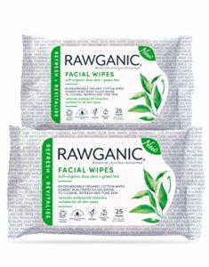 RAWGANIC Lingettes Démaquillantes Bio   Visage, Yeux, Lèvres   Coton Bio Biodégradable   Aloe Vera Thé Vert   Sans parfum (Lot de 2 paquets (50 lingettes))
