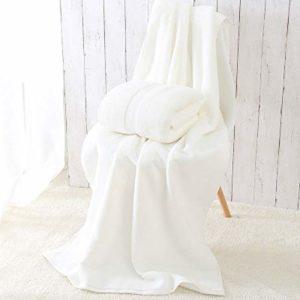 Serviette De Plage Solide De Serviette De Bain De Coton Pour L'antibactérien Absorbant élevéépais Doux à Séchage Rapide Unisexe,White-80 * 160cm