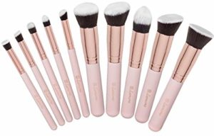 Set Pinceaux de Maquillage – Kit Kabuki Fond de teint, Poudre, Fard à Joues, Anticernes – Poils Soyeux Synthétiques de Qualité Premium – Collection de 10 Pinceaux pour les Yeux et du Visage
