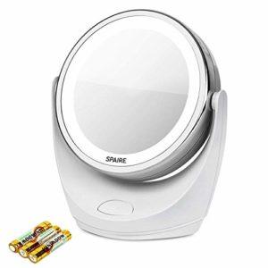 spaire Makeup Mirror 5X/1X Mirror Recto/Verso avec éclairages à LED et Rotation de 360 degrés pour des Soins cosmétiques et des Soins de la Peau (Charge de la Batterie)
