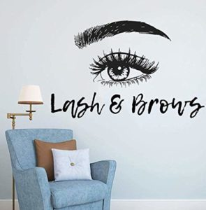 Stickers Muraux Cils Extensions Cils Et Sourcils Vinyle Autocollant De Salon De Beauté Décoration Sourcils Maquillage Maquillage Art Mural 90X57Cm
